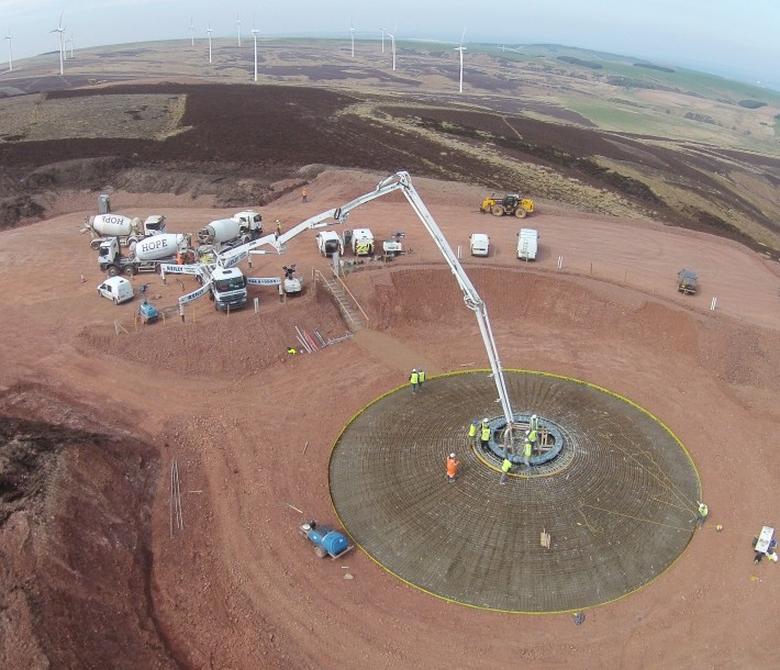 Concrete pour at T4. April 2015. Picture courtesy of Community Windpower Ltd