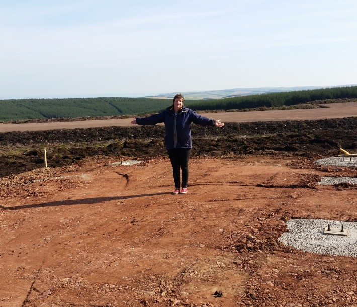 Judy standing where the new shed will be!